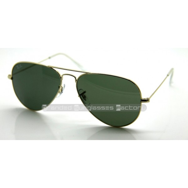 285aa1262b0a0 Fake Ray Ban Aviator RB3025 58MM L0205 Sunglasses Gold Frame Green G ...