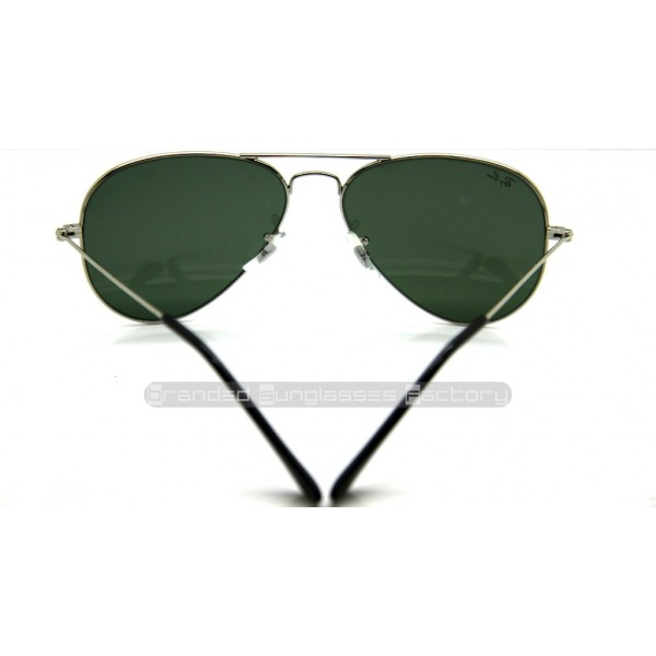 f2afe71d2d Fake Ray Ban Aviator RB3025 W3277 58MM Sunglasses Silver Frame Green ...