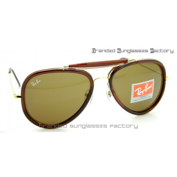 Fake Ray Ban RB3428 Road Spirit Sunglasses Brown Gold Frame Brown ...