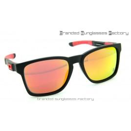 Oakley Catalyst Scuderia Ferrari Sunglasses Matte Black Frame Fire Iridium Lens