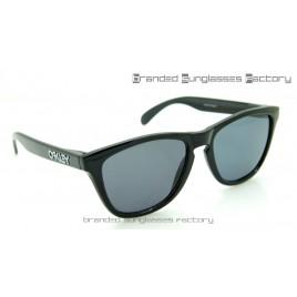 Oakley Frogskins 55MM Sunglasses Polished Black Frame Black Lens