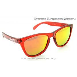 Oakley Frogskins Rare Sunglasses Transparent Red Frame Fire Iridium Lens