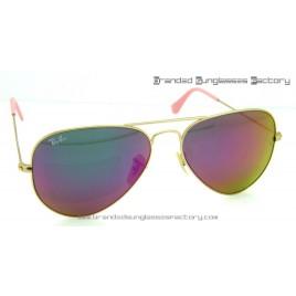 Ray Ban Aviator RB3026 62MM Sunglasses Gold Frame Purple/Pink Iridium Flash Lens