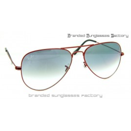 Ray Ban Aviator RB3025 58MM Sunglasses Red Frame Gray Gradient Lens