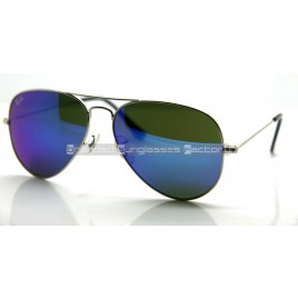 Ray Ban Aviator RB3025 58MM Sunglasses Silver Frame Blue Iridium Flash Lens