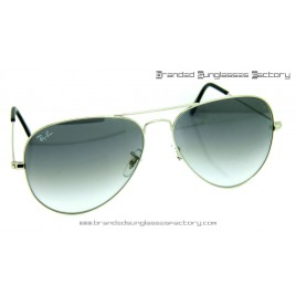 Ray Ban Aviator RB3026 62MM Sunglasses Silver Frame Grey Gradient Lens