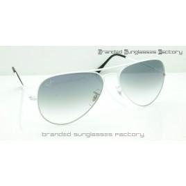 Ray Ban Aviator RB3025 58MM Sunglasses White Frame Gray Gradient Lens