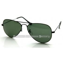 Ray Ban Aviator RB3025 L2823 58MM Sunglasses Black Frame Green G-15 Lens