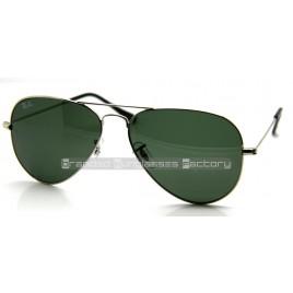 Ray Ban Aviator RB3025 W3277 58MM Sunglasses Silver Frame Green G-15 Lens