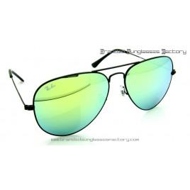Ray Ban Aviator RB3026 002/68 62MM Sunglasses Black Frame Green Iridium Flash Lens
