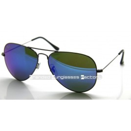 Ray Ban Aviator RB3026 004/17 62MM Sunglasses Gunmetal Frame Blue Iridium Flash Lens