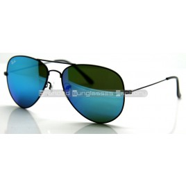 Ray Ban Aviator RB3026 62MM Sunglasses Black Frame Blue Iridium Flash Lens