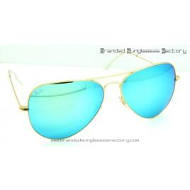 Ray Ban Aviator RB3026 62MM Sunglasses Gold Frame Green Iridium Flash Lens