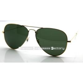 Ray Ban Aviator RB3026 L2848 62MM Sunglasses Gold Frame Green G-15 Lens