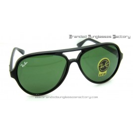 Ray Ban Cats RB4125 59MM Sunglasses Black Frame Green Lens
