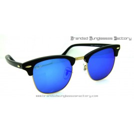Ray Ban Clubmaster RB3016 51MM Sunglasses Black Frame Blue Flash Lens