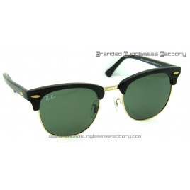 Ray Ban Clubmaster RB3016 51MM Sunglasses Black Frame Green G-15 Lens