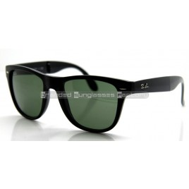 Ray Ban Folding Wayfarer RB4105/601 50MM Sunglasses Black Frame Green Lens