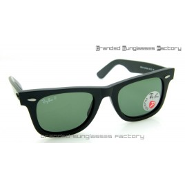 Ray Ban RB2140 Wayfarer Polarized 50MM Sunglasses Matte Black Frame Green Lens