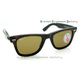 Ray Ban RB2140 Wayfarer Polarized 50MM Sunglasses Tortoise Frame Brown Lens