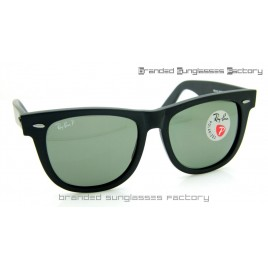 Ray Ban RB2140 Wayfarer Polarized 54MM Sunglasses Matte Black Frame Green Lens