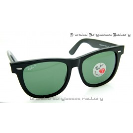 Ray Ban RB2140 Wayfarer Polarized 54MM Sunglasses Polished Black Frame Green Lens