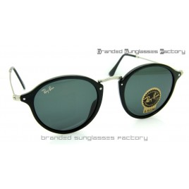 Ray Ban RB2447 Round Fleck 49MM Sunglasses Black Frame Black Lens