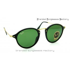 Ray Ban RB2447 Round Fleck 49MM Sunglasses Black Frame Green Lens