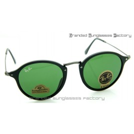 Ray Ban RB2447 Round Fleck 49MM Sunglasses Matte Black Frame Green Lens