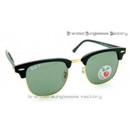Ray Ban RB3016 Clubmaster Polarized Sunglasses Polished Black Frame Green Lens 51MM