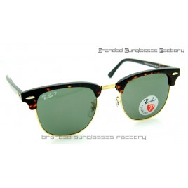 Ray Ban RB3016 Clubmaster Polarized Sunglasses Tortoise Frame Green Lens 51MM
