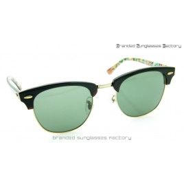 Ray Ban RB3016 Clubmaster Rare Print Limited Edition Sunglasses Black Frame Green Lens 51MM