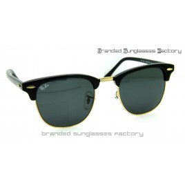 Ray Ban RB3016 Clubmaster Sunglasses Black Frame Black Lens 51MM