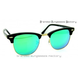 Ray Ban RB3016 Clubmaster Sunglasses Black Frame Green Flash Lens 51MM