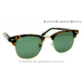 Ray Ban RB3016 Clubmaster Sunglasses Tortoise Frame Green Lens 51MM