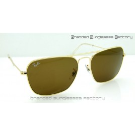 Ray Ban RB3136 Caravan 58MM Sunglasses Gold Frame Brown Lens