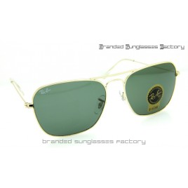 Ray Ban RB3136 Caravan 58MM Sunglasses Gold Frame Green Lens
