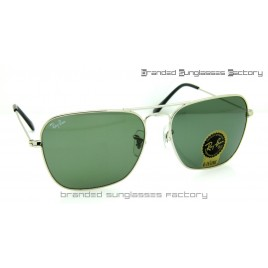 Ray Ban RB3136 Caravan 58MM Sunglasses Silver Frame Green Lens