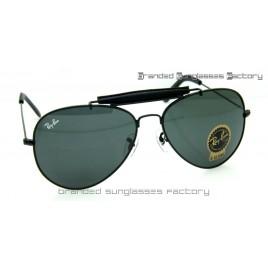 Ray Ban RB3422Q Craft Outdoorsman II Aviator Sunglasses Black Frame Black Lens 62MM