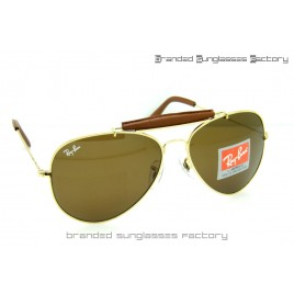 Ray Ban RB3422Q Craft Outdoorsman II Aviator Sunglasses Gold Frame Brown Lens 62MM