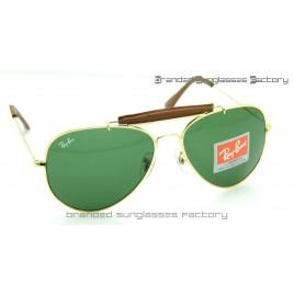Ray Ban RB3422Q Craft Outdoorsman II Aviator Sunglasses Gold Frame Green Lens 62MM