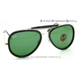 Ray Ban RB3428 Road Spirit Sunglasses Black Gold Frame Green Lens 58mm