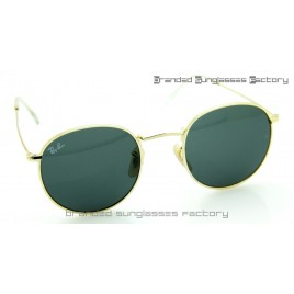 Ray Ban RB3447 Round Metal Sunglasses Gold Frame Black Lens 50MM