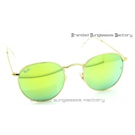 Ray Ban RB3447 Round Metal Sunglasses Gold Frame Green Flash Lens 50MM
