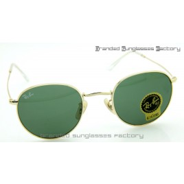 Ray Ban RB3447 Round Metal Sunglasses Gold Frame Green Lens 50MM
