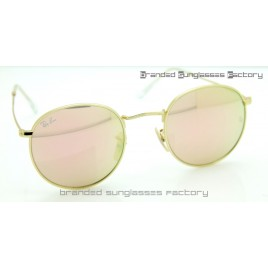 Ray Ban RB3447 Round Metal Sunglasses Gold Frame Pink Flash Lens 50MM