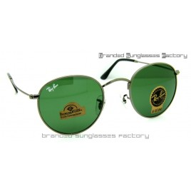 Ray Ban RB3447 Round Metal Sunglasses Gunmetal Frame Green Lens 50MM