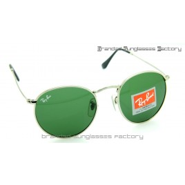 Ray Ban RB3447 Round Metal Sunglasses Silver Frame Green Lens 50MM