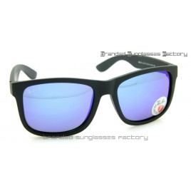 Ray Ban RB4165 Justin 54MM Polarized Sunglasses Matte Black Frame Blue Flash Lens