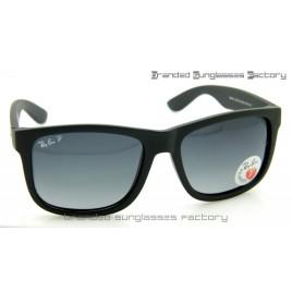 Ray Ban RB4165 Justin 54MM Polarized Sunglasses Matte Black Frame Grey Gradient Lens